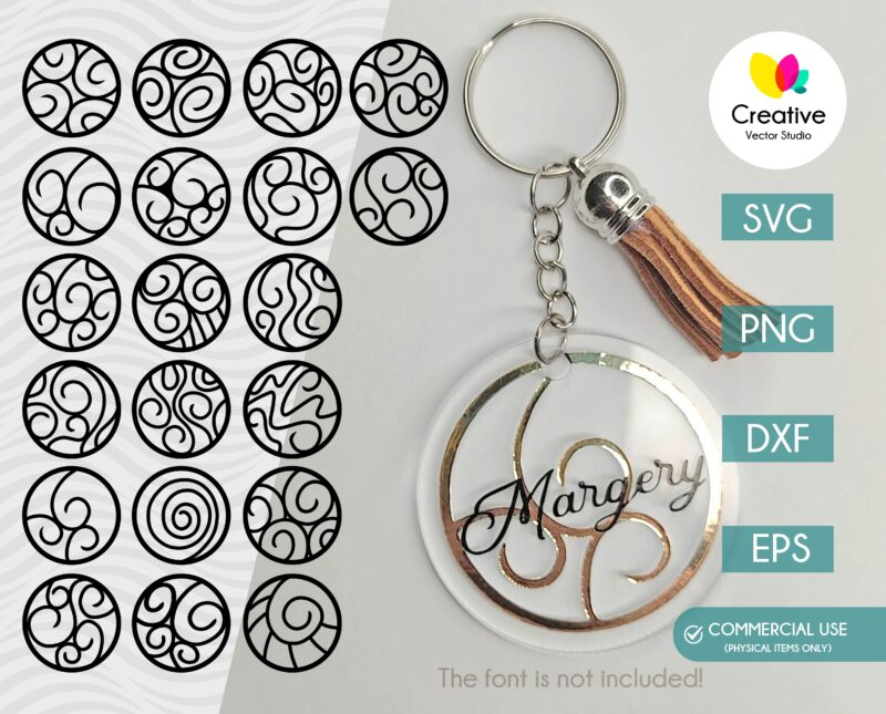 Round Keychain SVG Bundle