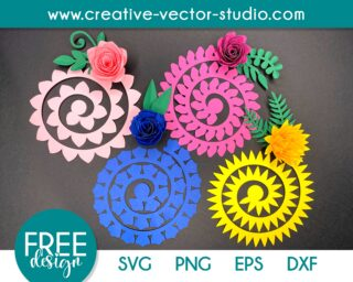 Free Rolled Flower SVG Template