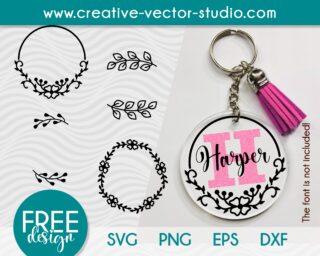Floral Wreath Keychain Pattern SVG