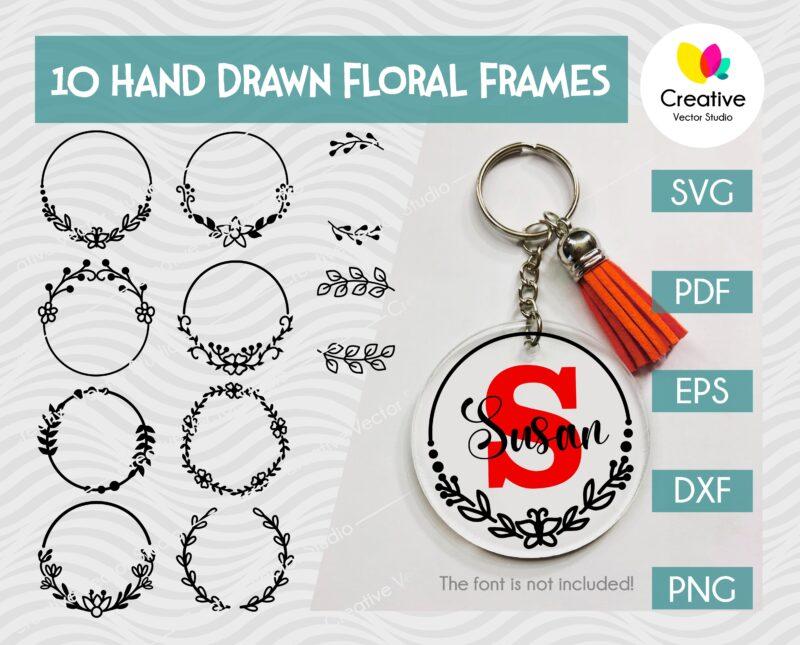 Floral Round Pattern SVG, Keychain Pattern SVG Bundle
