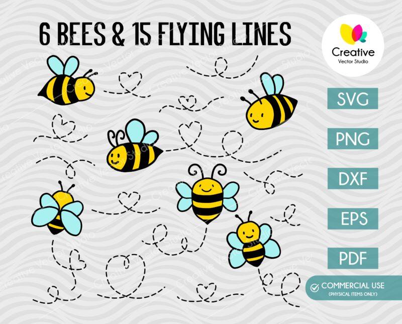 Flying bees svg bundle