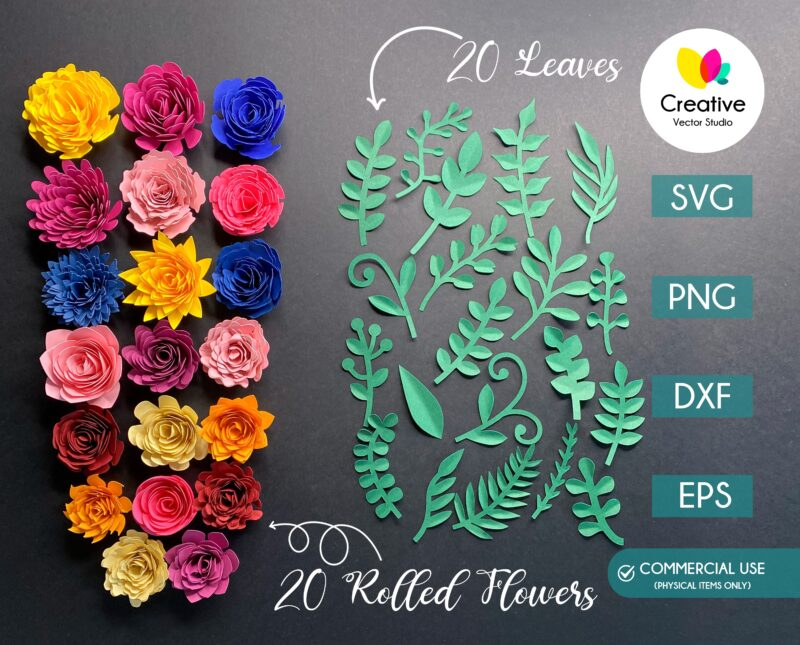 20 Rolled Flower and Leaves SVG cut files