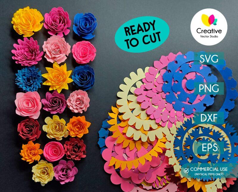 3D Flower cutting template