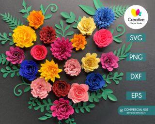 Rolled Flower and Leaves SVG Bundle
