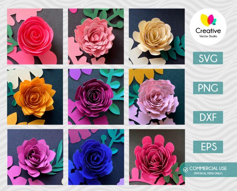 3D Paper Flower SVG