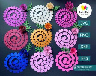 Rolled Paper Flower SVG Bundle