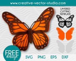Free Monarch Butterfly SVG Cutting Template