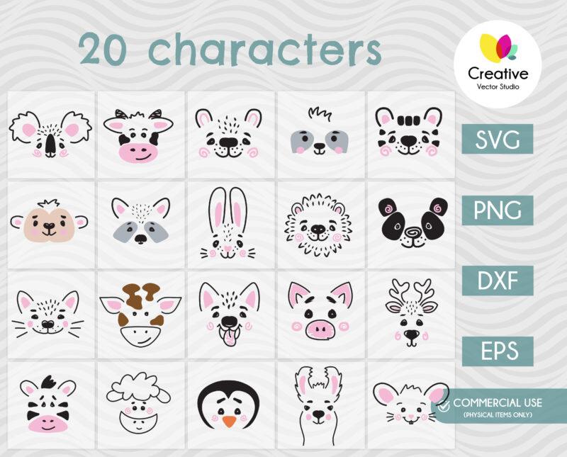 Animal Faces SVG Bundle