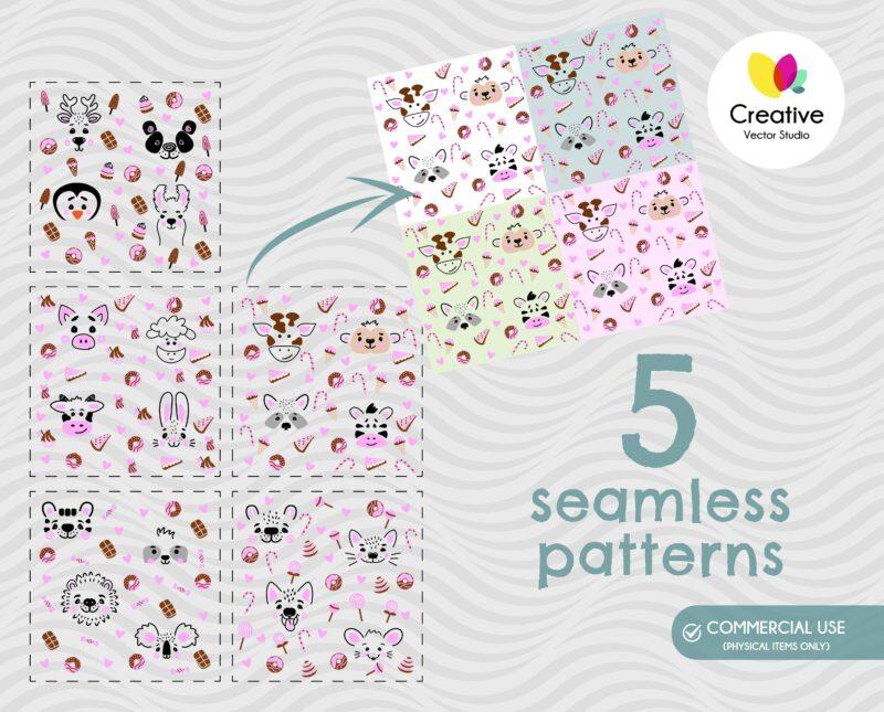 Animal Faces SVG Seamless Pattern