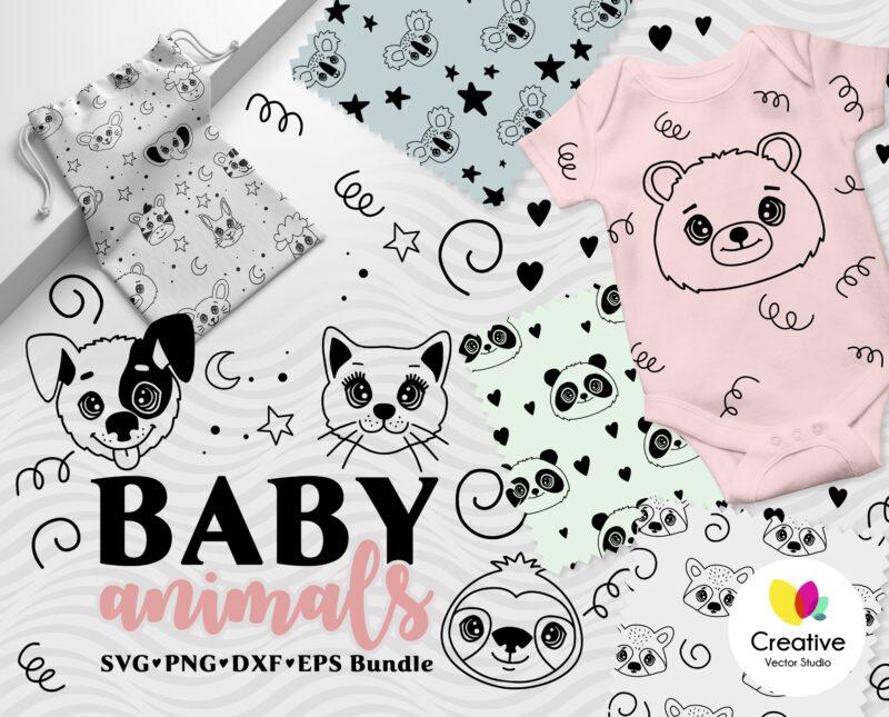 Cute Animals Faces SVG bundle