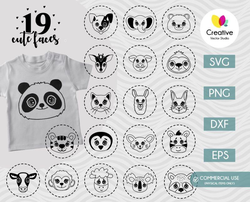 Cute Animal Faces SVG Bundle