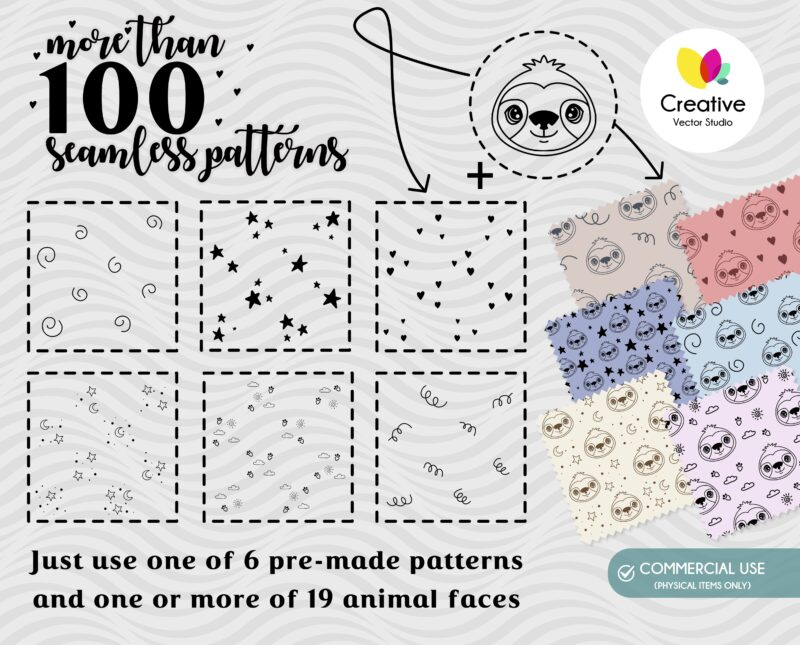 Cute Animal Faces SVG Seamless Patterns