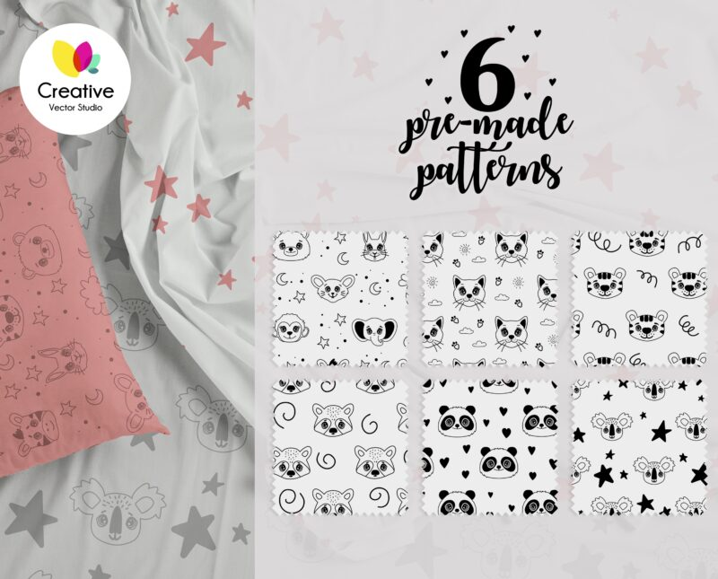 Animal Faces SVG Seamless Vector Patterns
