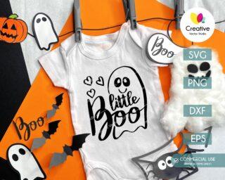 Little Boo SVG Halloween Baby Onesie