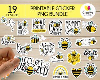 Bee PNG Sticker Bundle