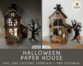 Hallwe Paper House SVG Cut Files